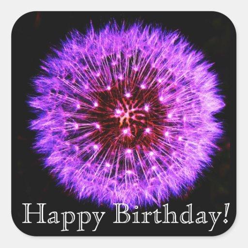 Purple Dandelion Puff Happy Birthday Sticker