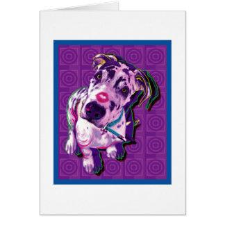 Purple Dane with Kiss Card
