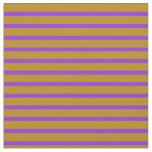 [ Thumbnail: Purple & Dark Goldenrod Colored Lines Fabric ]
