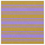 [ Thumbnail: Purple & Dark Goldenrod Colored Stripes Pattern Fabric ]