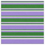 [ Thumbnail: Purple, Dark Green & Mint Cream Colored Pattern Fabric ]