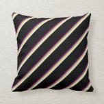 [ Thumbnail: Purple, Dark Khaki, Light Yellow & Black Colored Throw Pillow ]