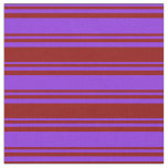 [ Thumbnail: Purple & Dark Red Lines Pattern Fabric ]