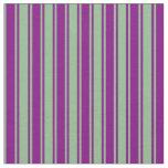 [ Thumbnail: Purple & Dark Sea Green Colored Lined Pattern Fabric ]