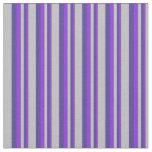 [ Thumbnail: Purple, Dark Slate Blue, and Grey Colored Stripes Fabric ]