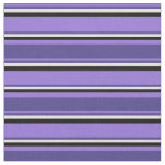 [ Thumbnail: Purple, Dark Slate Blue, Beige, and Black Lines Fabric ]