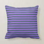 [ Thumbnail: Purple & Dark Slate Gray Colored Stripes Pattern Throw Pillow ]