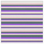 [ Thumbnail: Purple, Dark Slate Gray, Pink & White Lines Fabric ]