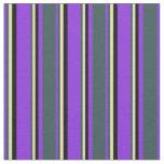 [ Thumbnail: Purple, Dark Slate Gray, Tan & Black Colored Fabric ]