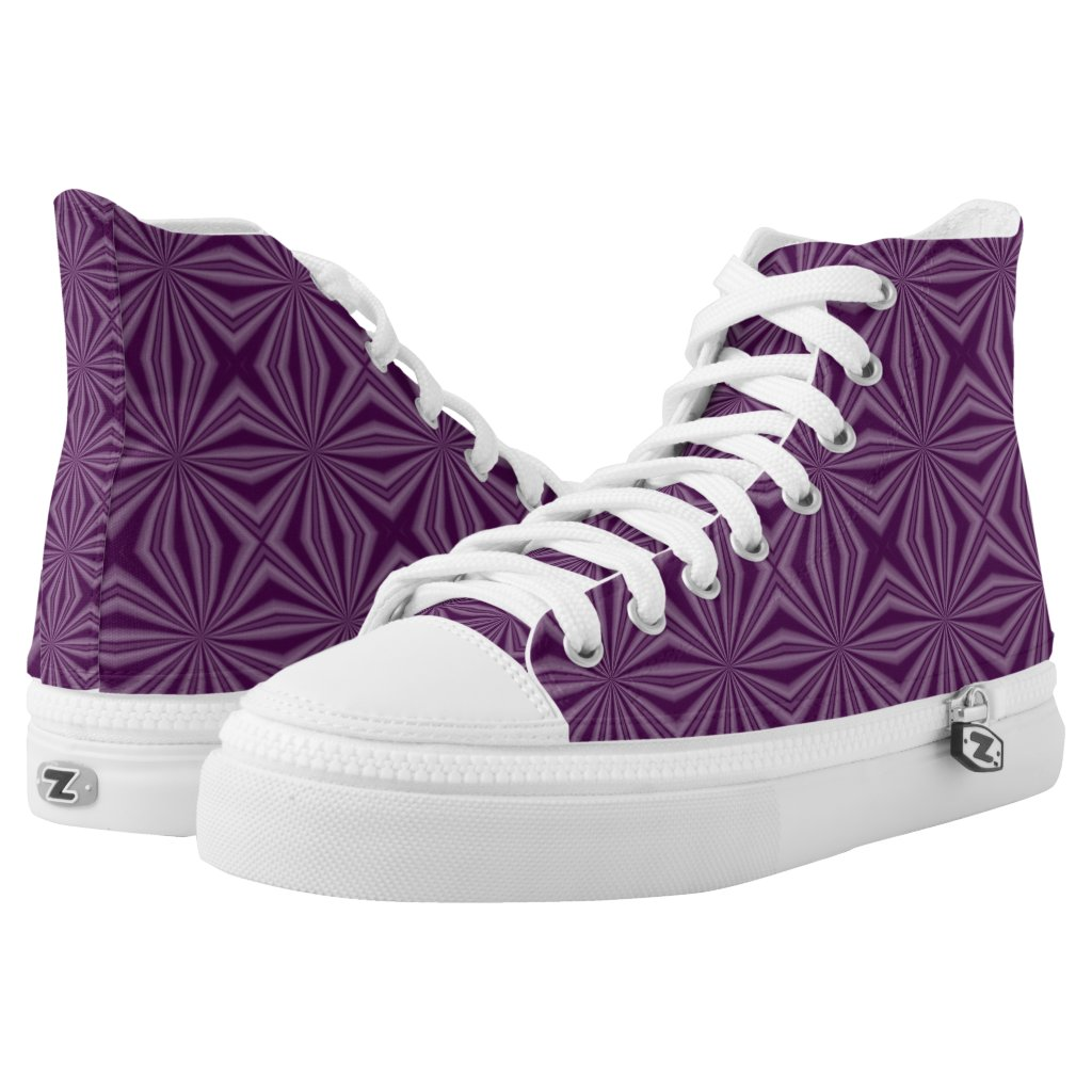 Purple Darkest Squiggly Squares High-Top Sneakers
