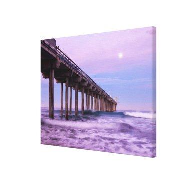 Beach Themed Purple dawn over pier, California Canvas Print