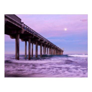 Beach Themed Purple dawn over pier, California Postcard
