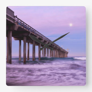 Purple dawn over pier, California Square Wall Clock