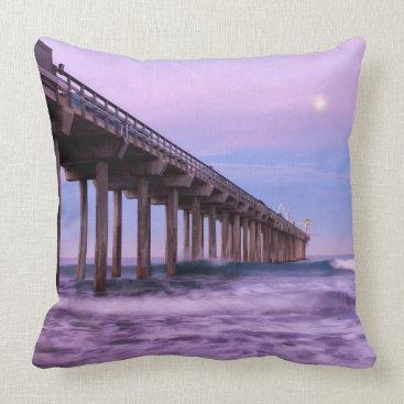 Beach Themed Purple dawn over pier, California Throw Pillow