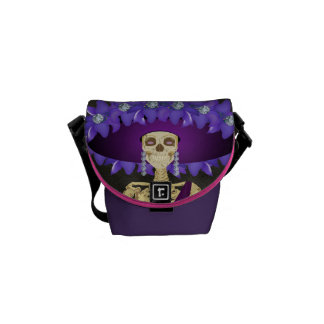 Purple Day of the Dead Skeleton Courier Bag