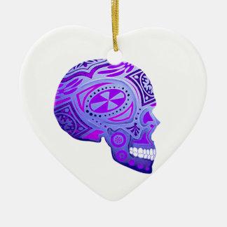 Purple Day of the Dead Skull Ceramic Ornament