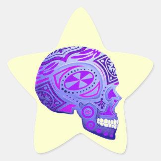 Purple Day of the Dead Skull Star Sticker