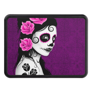 Purple Day of the Dead Sugar Skull Girl Tow Hitch Cover
