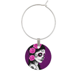 Purple Day of the Dead Sugar Skull Girl Wine Charm