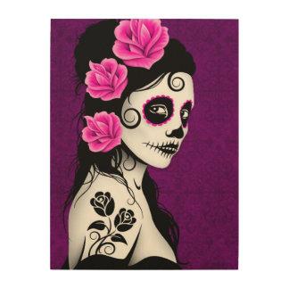 Purple Day of the Dead Sugar Skull Girl Wood Wall Art