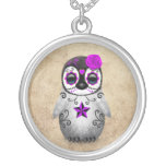 Purple Day of the Dead Sugar Skull Penguin Aged Round Pendant Necklace