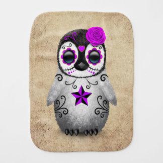 Purple Day of the Dead Sugar Skull Penguin Aged Burp Cloth