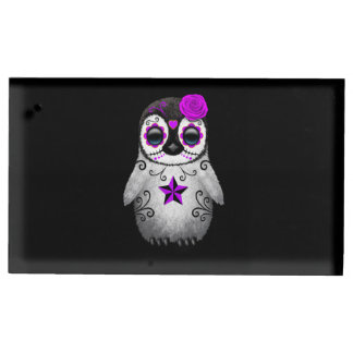 Purple Day of the Dead Sugar Skull Penguin Black Table Card Holder