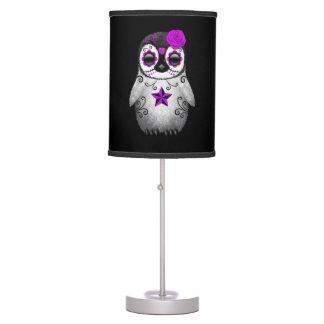 Purple Day of the Dead Sugar Skull Penguin Black Table Lamp