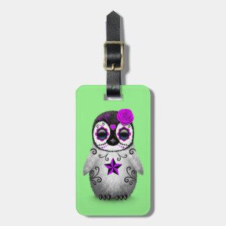 Purple Day of the Dead Sugar Skull Penguin Green Luggage Tag