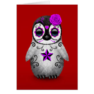 Purple Day of the Dead Sugar Skull Penguin Red Greeting Card
