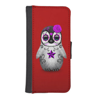 Purple Day of the Dead Sugar Skull Penguin Red Wallet Phone Case For iPhone SE/5/5s