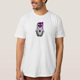 Purple Day of the Dead Sugar Skull Penguin T-Shirt