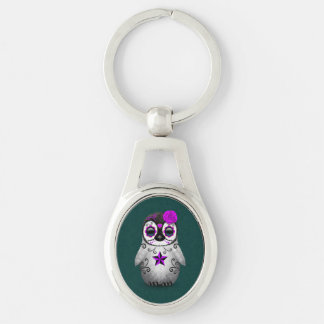 Purple Day of the Dead Sugar Skull Penguin Teal Keychain