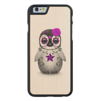 Purple Day of the Dead Sugar Skull Penguin White Carved Maple iPhone 6 Case
