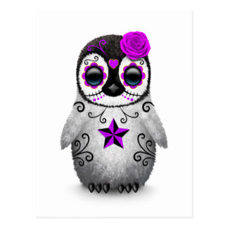 Purple Day of the Dead Sugar Skull Penguin White Postcard