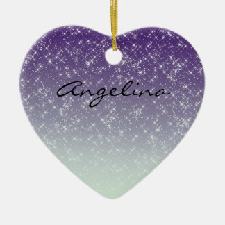Purple Daze Double-Sided Heart Ceramic Christmas Ornament