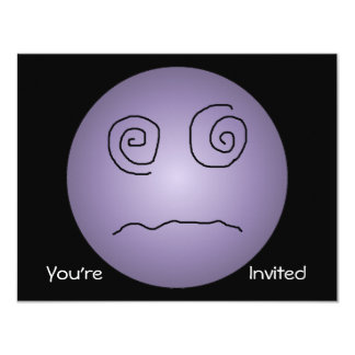 """Purple Dazed and Confused Smiley 4.25"""" X 5.5"""" Invitation Card"""