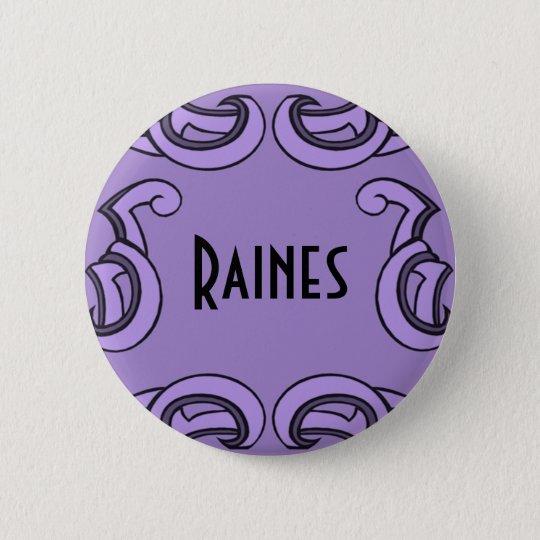 Purple Deco Name Tag Pinback Button