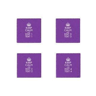 Purple Decor Keep Calm And Your Text Easily Stone Magnet
