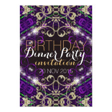 Purple Decor Royale Birthday Dinner Party Invite