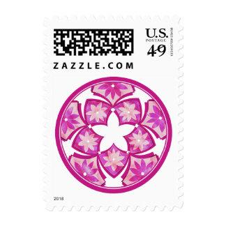 Purple Decorative Floral Tiles Postage