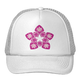 Purple Decorative Floral Tiles Trucker Hat