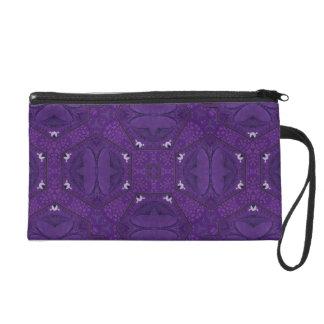 Purple decorative pattern wristlet purse