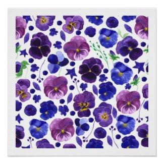 Purple Deep Blue Pansies Watercolor Poster Print