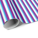 [ Thumbnail: Purple, Deep Sky Blue, and Mint Cream Pattern Wrapping Paper ]