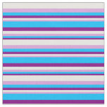 [ Thumbnail: Purple, Deep Sky Blue, Plum & White Colored Lines Fabric ]
