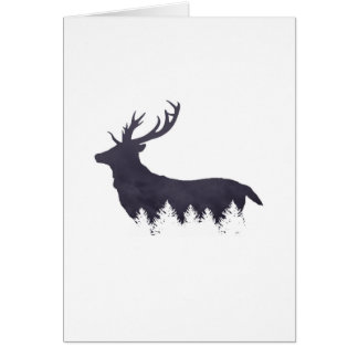 Purple Deer Silhouette With Trees and Clouds Adjus Greeting Card