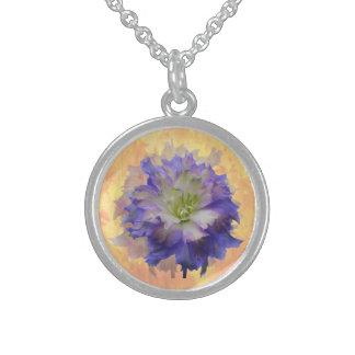 Purple Delphinium Round Pendant Necklace