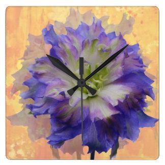 Purple Delphinium Square Wall Clock