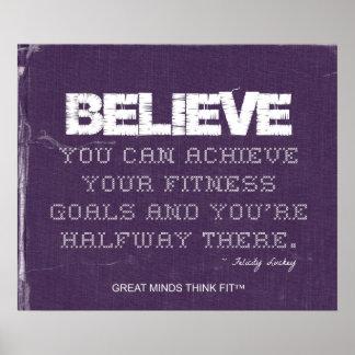 Purple Denim Believe Fitness Poster